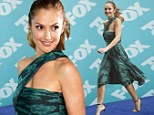 Minka Kelly looks ladylike in retro emerald dress at Fox Upfront for her new series Almost Human