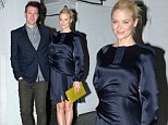 She's already perfected her pregnancy style: Jaime King dresses her growing baby bump in midnight blue satin dress