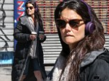 Katie Holmes seen out and about with 2 cups of coffee while on a brake of her latest movie