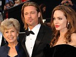 So proud: Angelina, right, poses with her fiancé Brad Pitt and his mother Jane and father William at the Oscars in 2012; Jane has paid tribute to her daughter-in-law