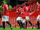 Hat-trick hero: Larnell Cole (second left) was far too good for Liverpool on the night