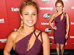 Now you see it, now you don't: Hayden Panettiere plays peekaboo with her cleavage in unusual bandage dress for ABC Upfronts