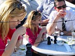 Are you sure that's a good idea? Reese Witherspoon 'stares into the bottom of a cocktail glass as Jim Toth sips wine' during day time drinks after pair's recent arrest