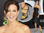 Wearing the future on her feet: Kate Beckinsale sports glowing neon heels for the Star Trek Into Darkness premiere