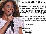 'I've never postponed a show in my life... it was very hard for me': Beyoncé pens handwritten apology after cancellation but reassures fans she's 'feeling better now'