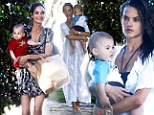 Play date: Alessandra Ambrosio enjoyed some fun in the sun with her little boy Noah and gal pals Lily Alridge and Ana Beatriz Barros at her home in Brentwood, California on Tuesday