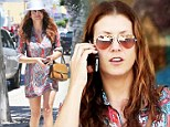 Spring dress: Kate Walsh stepped out in a short, multi-coloured paisley dress on Tuesday while running errands in Los Angeles