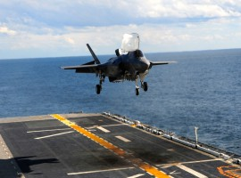 F-35B Descends to Its First Shipboard Touchdown