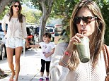 Time for a recharge! Slimpins Alessandra Ambrosio sips on a healthy green juice after dropping daughter Anja at school