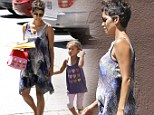 She makes pregnancy look like a breeze! Halle Berry glows in an airy frock as she picks up daughter Nahla from school