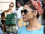 Wrap it up! Eva Mendes goes casual in head scarf and jeans as she hits the stores on shopping spree