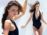The Victoria's Secret cleavage has gone! Very slender Miranda Kerr doesn't appear quite so perky in flimsy swimsuits