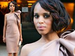 So Scandalous! Kerry Washington looks pretty in pink as her co-star reveals sex scenes with the stunner are a 'problem'
