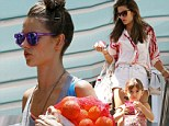 She's modeling healthy living! Alessandra Ambrosio steps out for a fresh tea with Anja after morning at the farmers' market