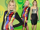 Pregnant Jaime King dresses belly in rainbow stripes while AnnaSophia Robb sizzles in skimpy dress at CW event