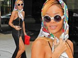 Rihanna wearing a headscarf in New York City on Thursday