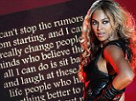 'I laugh at these low life people': Beyoncé posts defensive online note to scotch rumours that she's pregnant