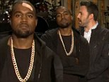 Cheer up, Kanye! Band-aid sporting West is miserable as ever in series of Saturday Night Live promos with Ben Affleck