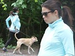 Heavily pregnant Jenna Dewan-Tatum heads into the woods for walkies with dogs as she keeps active in final weeks of pregnancy