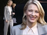 Statuesque Cate Blanchett means business as she slips into slick trouser suit for lunch date with fashion icon Giorgio Armani
