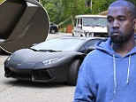 Pictured: Kanye West's $750,000 Lamborghini is covered in scratches after being trapped by girlfriend Kim Kardashian's electric gates
