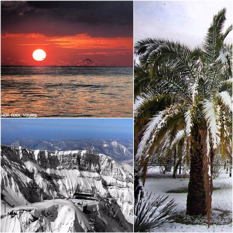 Photo: Snow and Beach! Home of the next Winter Olympics. The  Sochi 2014 Winter Games. LIKE  :P