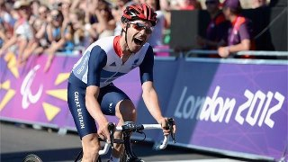 Photo: David Stone celebrates winning gold in the Mixed T 1-2 Road Race on Day 10 of the London 2012 Paralympic Games at Brands Hatch (Getty Images)