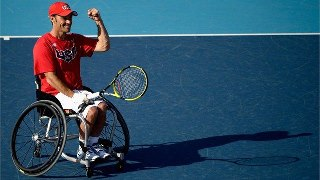 Photo: David Wagner of the United States celebrates after defeating Great Britain in the Quad Doubles Wheelchair Tennis gold medal match on Day 7 of the London 2012 Paralympic Games at Eton Manor (Getty Images)