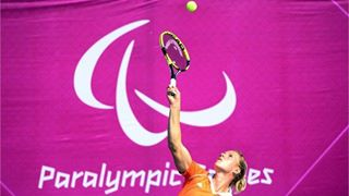 Photo: Esther Vergeer of the Netherlands serves during the women's Singles Wheelchair Tennis match against Katharina Kruger of Germany on Day 5 of the London 2012 Paralympic Games at Eton Manor (Getty Images)