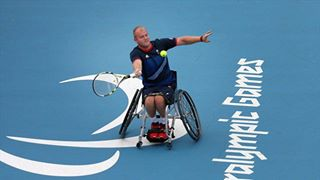 Photo: Marc McCarroll of Great Britain plays a shot during the men's Singles round 64 match against Tom Egberink of the Netherlands on Day 3 of the London 2012 Paralympic Games at Eton Manor (Getty Images)