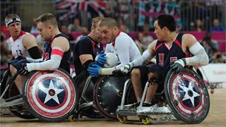Photo: Mike Kerr of Great Britain in action during the Wheelchair Rugby match between United States and Great Britain on Day 7 of the London 2012 Paralympic Games at the Basketball Arena (Getty Images)