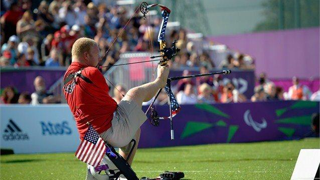 Photo: Day 6 sees the start of Wheelchair Fencing plus medals in 8 sports. Here's a great shot of Matt Stutzman (USA) in his silver medal Archery performance yesterday http://t.co/FkcOHuSO