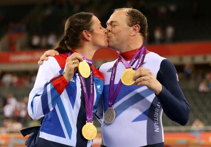 Photo: One married couple. Four Track Cycling medals. Barney and Sarah Storey :-) http://l2012.cm/S8tTgl