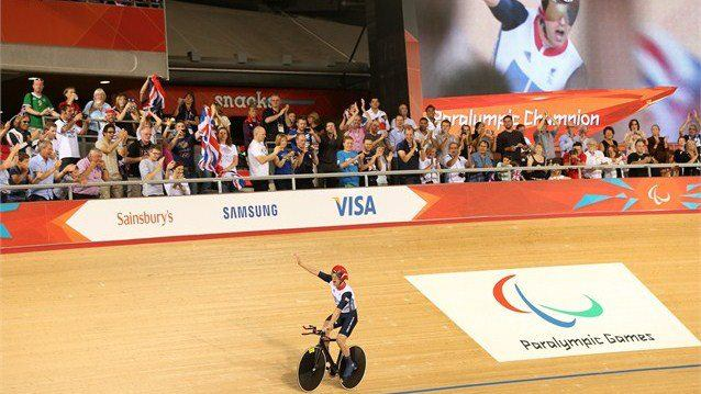 Photo: Mark Lee Colbourne of Great Britain celebrates after winning gold in the Men's Individual Cycling C1 Pursuit final on day 2 of the London 2012 Paralympic Games at the Velodrome (Getty Images)