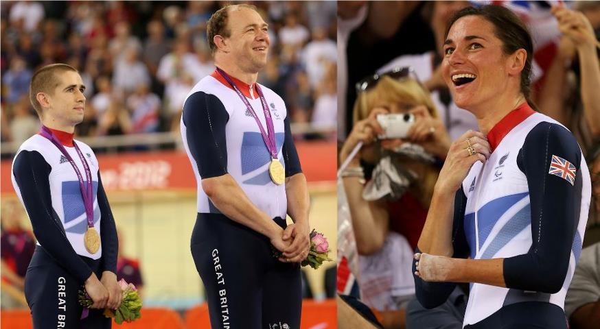 Photo: Extraordinary - a married couple both win gold in the Velodrome today! Congratulations to Sarah Storey, plus Neil Fachie (L) and his Pilot Barney Storey: http://l2012.cm/S8tTgl