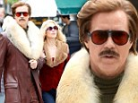 Looking fly! Will Ferrell and Christina Applegate strut their late 70's best on location for Anchorman 2 in NYC