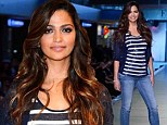 Camila Alves flaunts her curves in sequin and denim as she steps on the runway at Macy's I.N.C. Las Vegas Fashion Show