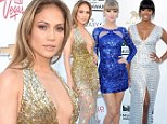 Taking the plunge! Jennifer Lopez bares it all in a gold sequinned gown as Taylor Swift and Kelly Rowland lead the trend of sparkling stars at the 2013 Billboard Music Awards