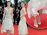 Part of the fashion flock: Jessica Biel steals the show at husband Justin Timberlake's Cannes premiere in stunning feather gown