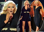 'Feel This Moment!' Christina Aguilera struts her slimmer body in low-cut black dress on stage at 2013 Billboard Music Awards