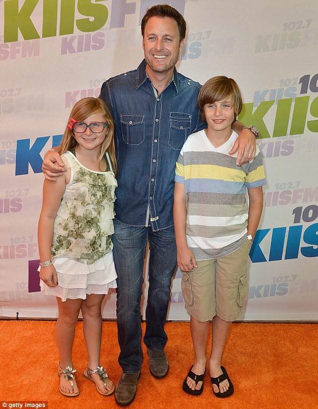 Family man: Bachelor host Chris Harrison took his children Taylor (L) and Joshua (R) for a music-filled day
