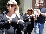 Still two months away! Jessica Simpson's growing baby bump swarms her petite frame as she heads out with fiance Eric Johnson and daughter Maxwell