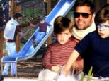 Proud papa: Ricky Martin took his twin sons Mateo and Valentino to a park on Sunday in Sydney, Australia