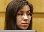 Pressure: Jodi Arias looks at her family during the penalty phase of her murder trial at Maricopa County Superior Court in Phoenix on Monday. No witnesses are speaking in her defense