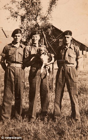 William Hopkins (centre) during active service in Carlisle