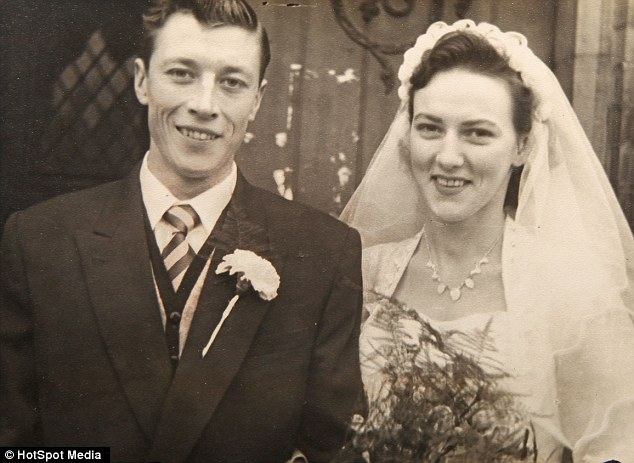 Heartbreak: The attacker stole Mr Hopkins' wallet which contained a memorial card from the funeral of his late wife Peggy, pictured together on their wedding day