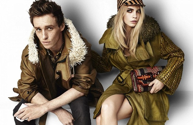 Faces of Burberry: Eddie Redmayne, English actor with model Cara Delevingne, in a new Burberry advertising campaign