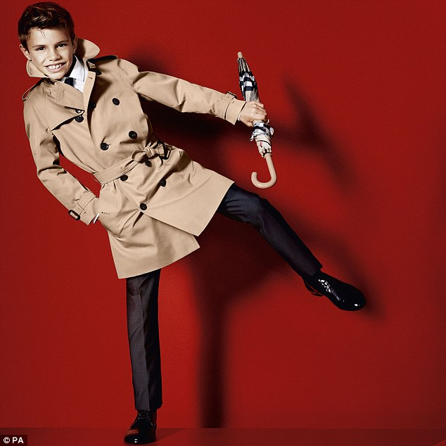 Distinctively British: Romeo Beckham (left), the second son of David and Victoria, was recently unveiled as a Burberry model