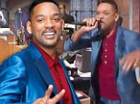 Trying to stay fresh! Will Smith does an impromptu rap in a slick satin blue suit as he arrives for TV appearance