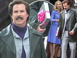 Boxing clever! Will Ferrell brings on-screen love Christina Applegate chocolates on the set of Anchorman 2